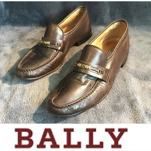 BALLY - Men's Brown Leather Loafers - (9.5 D)